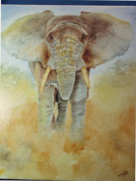 Elephant painted by Joan Shaddy