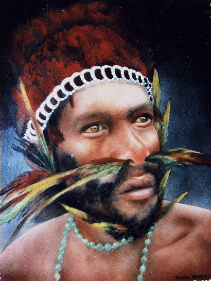 Papui New Guinea Chief Painted by Bonnie Warren