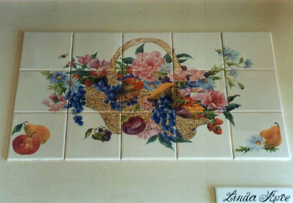 Tile Painting by Linda Apte