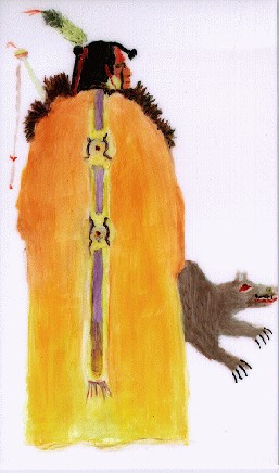 Mandan Warrior - Painting by Johnella McGuire-Mathley