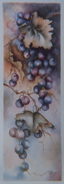Tile Painting of Grapes by Vinita Harrison