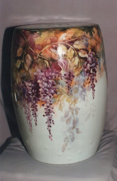 Wisteria Vase Painted by Suzie Thompson