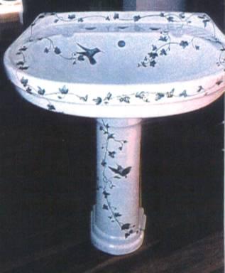 Floral And Hummingbird Pedestal Sink